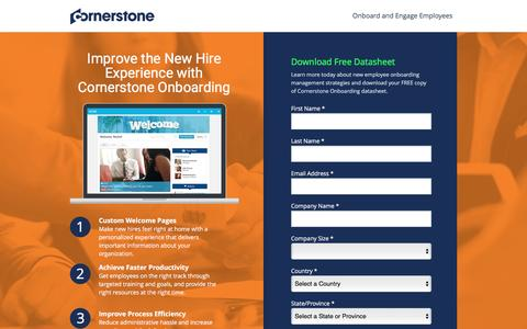Screenshot of Landing Page cornerstoneondemand.com - Employee Onbarding Management System | Cornerstone - captured April 3, 2017