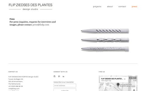 Screenshot of Press Page fzdp.com - press - ::: FLIP ZIEDSES DES PLANTES design studio ::: - captured Oct. 10, 2018