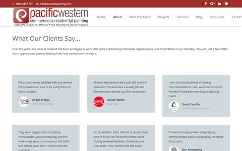 Screenshot of Testimonials Page pacwestpainting.com - Satisfied Clients in San Diego, CA | PacWest Painting Contractors - captured Oct. 9, 2017