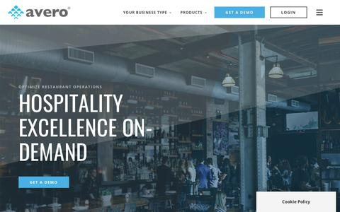 Screenshot of Home Page averoinc.com - Smart Hospitality Starts Here | Avero – Smart Hospitality Starts Here - captured Nov. 29, 2019