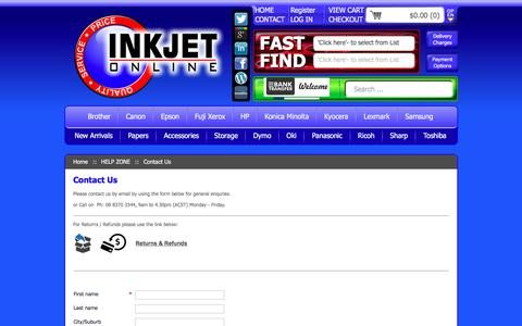 Screenshot of Contact Page inkjetonline.com.au - Contact Us - | Inkjet Online - captured July 13, 2018