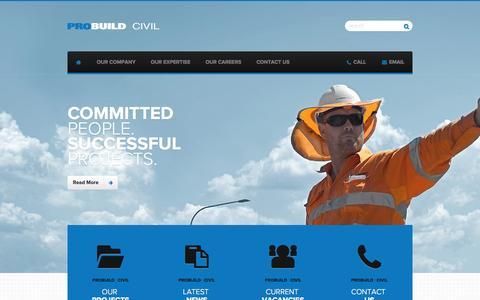 Screenshot of Home Page probuildcivil.com.au - Probuild Civil | Civil Construction and Engineering Brisbane - captured Oct. 3, 2014