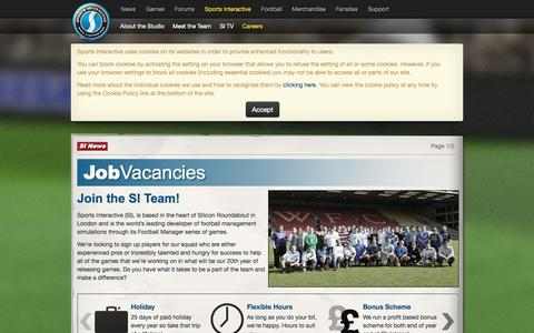 Screenshot of Jobs Page sigames.com - Sports Interactive, the developers of Football Manager - Careers: Join the SI Team - captured Sept. 18, 2014
