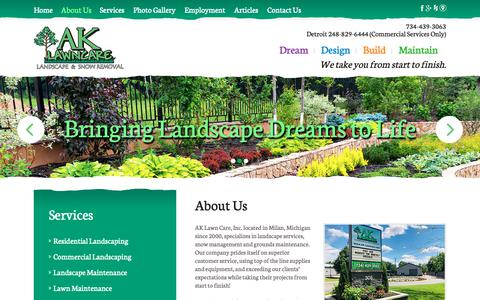 Screenshot of About Page ak-lawncare.com - About Us | AK Lawn Care Inc | Milan, MI - captured Oct. 2, 2018