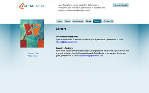 Screenshot of Jobs Page aptacapital.com - Apta Capital Careers - captured Feb. 6, 2016