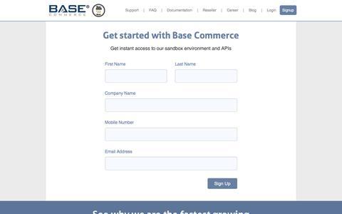 Screenshot of Signup Page basecommerce.com - Base Commerce - SignUp - captured Feb. 12, 2016