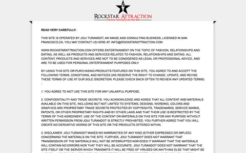 Screenshot of Terms Page rockstarattraction.com - Disclaimers, Contact, Privacy Policy and Terms | Rockstar Attraction l Disclaimers, Contact, Privacy Policy and Terms - captured Sept. 26, 2014
