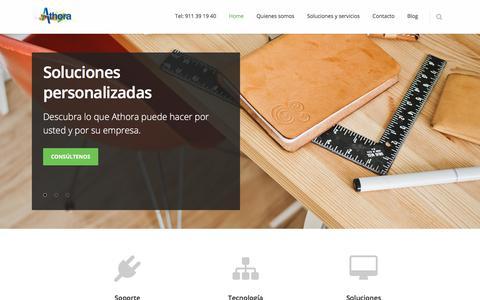 Screenshot of Home Page athora.es - Consultoría de sistemas, virtualización de escritorios, IT Management - captured July 31, 2018