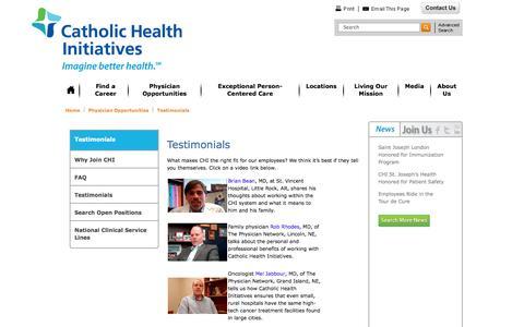 Screenshot of Testimonials Page catholichealthinitiatives.org - Testimonials Denver, Colorado (CO) - Catholic Health Initiatives - captured Sept. 29, 2014