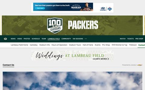 Screenshot of Contact Page packers.com - Packers.com, the official website of the Green Bay Packers - captured June 3, 2018