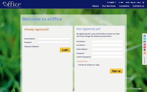 Screenshot of Signup Page Login Page eoffice.net - Customer Login - captured May 24, 2017