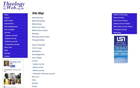 Screenshot of Site Map Page theologyontheweb.org.uk - Theology on the Web: Site Map - captured Oct. 1, 2014