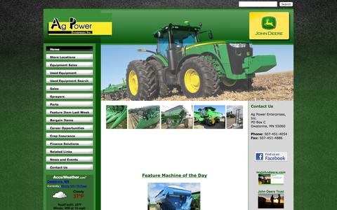 Screenshot of Home Page agpowerjd.com - Ag Power Enterprises - Home - Ag Power Enterprises Inc. - 1-507-451-4054 - Belle Plaine | Hollandale | Owatonna - captured Oct. 4, 2014