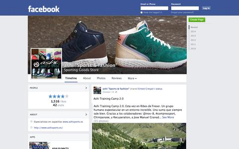 "Screenshot of Facebook Page facebook.com - ashi ""Sports & fashion"" - Barcelona, Spain - Sporting Goods Store 