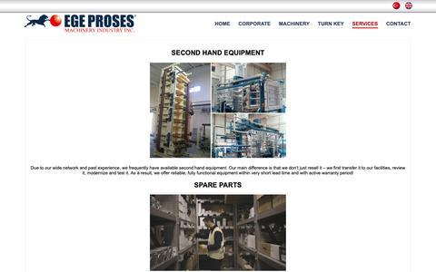 Screenshot of Services Page egeproses.com - EGE PROSES - captured Sept. 27, 2018
