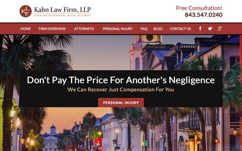 Screenshot of Home Page kahnlawfirm.com - Charleston Personal Injury Attorney | Kahn Law Firm, LLP - captured Oct. 14, 2018