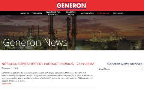 Screenshot of Blog generon.com - Blog - Generon | Pioneering Gas Solutions - captured Jan. 25, 2018