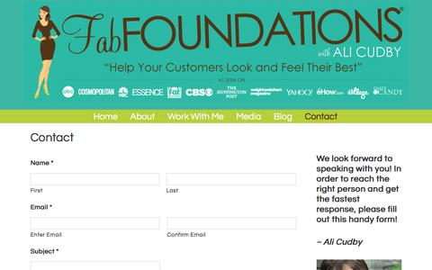 Screenshot of Contact Page fabfoundations.com - Contact - Fab Foundations�:  Celebrating Customer Culture - captured Jan. 8, 2016