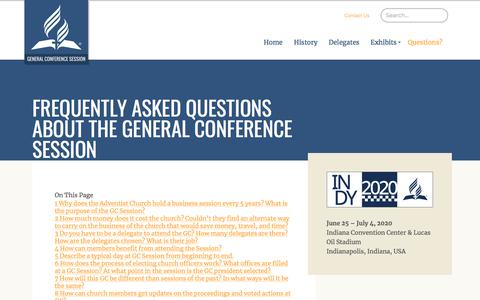 Screenshot of FAQ Page adventist.org - Frequently Asked Questions about the General Conference Session – General Conference Session - captured Feb. 17, 2018