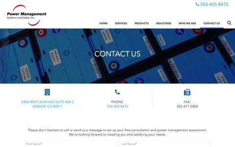 Screenshot of Contact Page pmssinc.com - Contact Us | Power Management Systems & Sales - captured Sept. 29, 2018