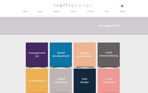 Screenshot of Services Page trafficseven.com - Management 360   Brand Development & Management   Traffic Seven - captured Sept. 21, 2018