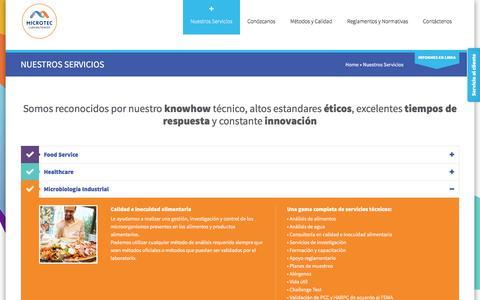 Screenshot of Services Page labmicrotec.com - Laboratorio Microtec Costa Rica: Nuestros Servicios - captured Nov. 28, 2016