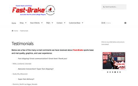 Screenshot of Testimonials Page fast-brake.com - Fast-Brake Adhesive Sport Mats - Testimonials - captured Oct. 10, 2018