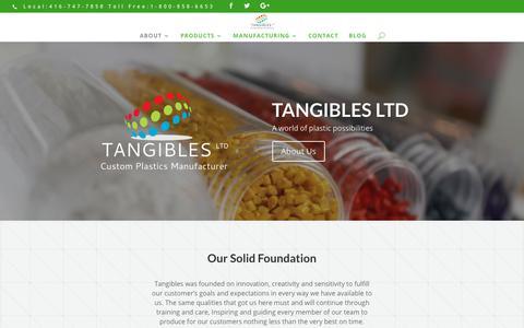 Screenshot of Home Page tangiblesltd.com - Tangibles | Custom Plastics Manufacturer - captured Nov. 19, 2018