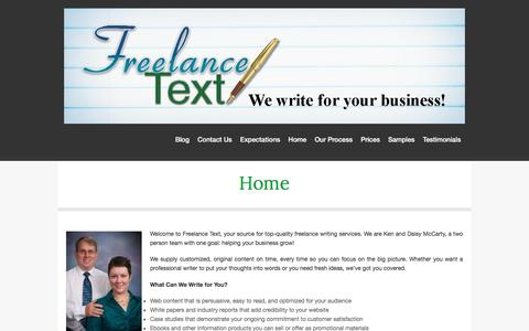 Screenshot of Home Page freelance-text.com - We understand the business of freelance writing - captured Aug. 4, 2016