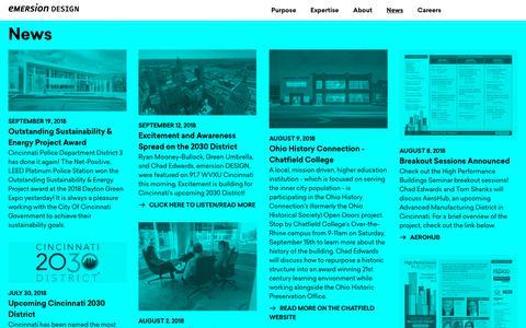 Screenshot of Press Page emersiondesign.com - News | Emersion Design - captured Sept. 30, 2018