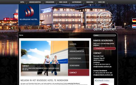 Screenshot of Home Page riverside-nordhorn.nl - Riverside Hotel Nordhorn | denk positief. - captured Oct. 27, 2018