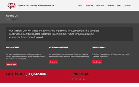 Screenshot of About Page cpmconstruction.com - About Us   CPM Construction – Indianapolis - captured Oct. 1, 2014