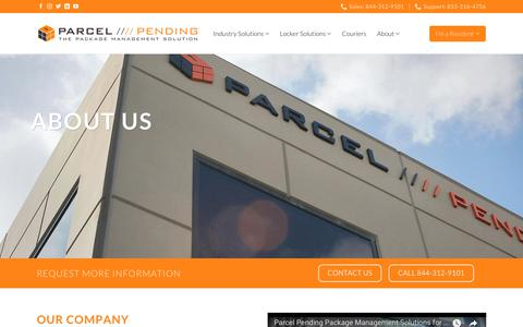 Screenshot of About Page parcelpending.com - About Parcel Pending - Package Management Solutions - captured July 6, 2018