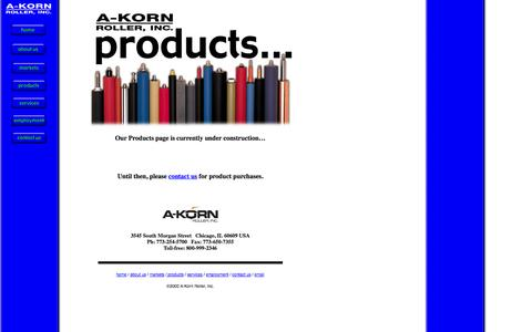 Screenshot of Products Page a-kornroller.com - Products Offered by A-Korn Roller, Inc. - captured Sept. 30, 2014
