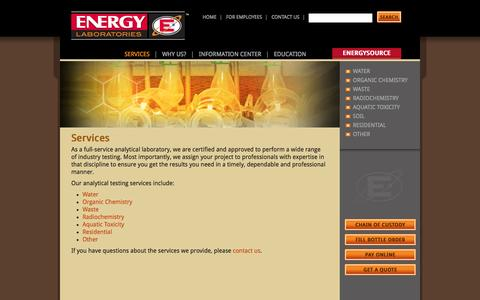 Screenshot of Services Page energylab.com - Services - Energy Labs Energy Labs - captured Oct. 2, 2014