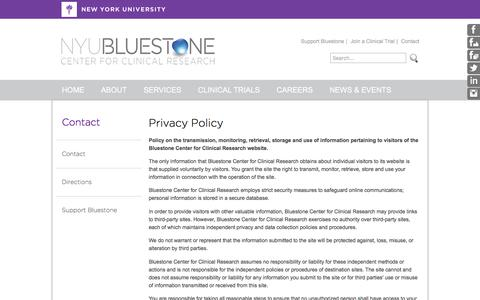 Screenshot of Privacy Page bluestonecenter.org - NYU Bluestone Center for Clinical Research : Contact - captured Feb. 15, 2016