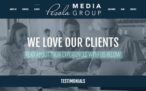 Screenshot of Testimonials Page pesolamediagroup.com - Testimonials | Pesola Media Group - captured May 16, 2017