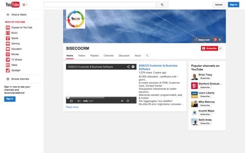 Screenshot of YouTube Page youtube.com - SISECOCRM  - YouTube - captured Oct. 29, 2014