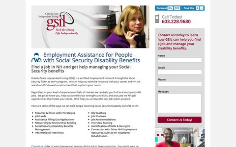 Screenshot of Landing Page gsil.org - New Hampshire Employment Assistance for People Receiving Social Security Disability Benefits | Granite State Independent Living (GSIL) - captured Oct. 27, 2014