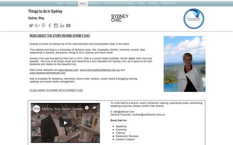 Screenshot of About Page sydneychic.com.au - Sydney Chic   Things to do in Sydney   Australia - captured Oct. 22, 2018