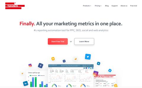 Screenshot of Home Page supermetrics.com - Supermetrics | #1 marketing add-on for Google Sheets & Data Studio - captured Nov. 23, 2017