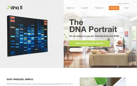 Screenshot of Products Page dna11.com - DNA Portrait: The world's most unique and personalized form of art... - captured Sept. 23, 2014