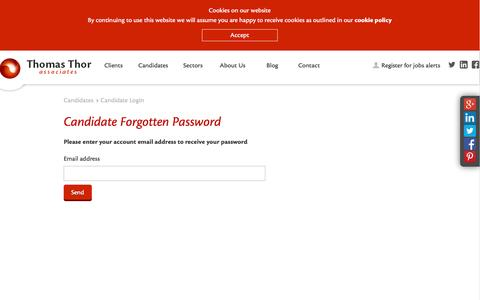 Screenshot of Login Page thomas-thor.com - Forgotten Password - Thomas Thor - captured Feb. 29, 2016