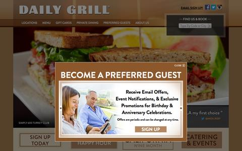 Screenshot of Home Page dailygrill.com - Home - Daily Grill - captured Sept. 22, 2014