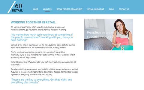Screenshot of About Page 6r.com.au - 6R Retail Consultants | ERP, PLM, PIM Systems Implementation & Integration Consultants | About Us6R Retail - captured Oct. 18, 2017