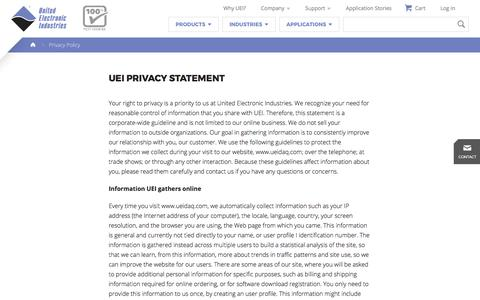Screenshot of Privacy Page ueidaq.com - Aerospace, Energy, Defense Data Acquisition & Control  | United Electronic Industries - captured Oct. 19, 2017