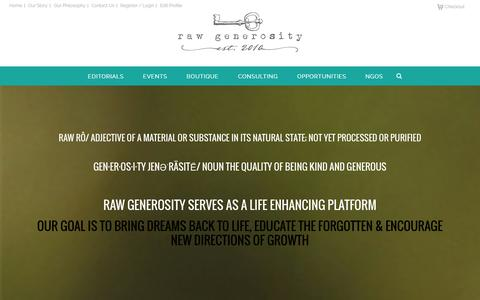 Screenshot of Home Page rawgenerosity.com - Raw Generosity - captured Oct. 9, 2014