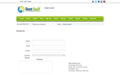 Screenshot of Contact Page rent-stuff.co.uk - Contact   Rent Stuff - captured Oct. 26, 2014