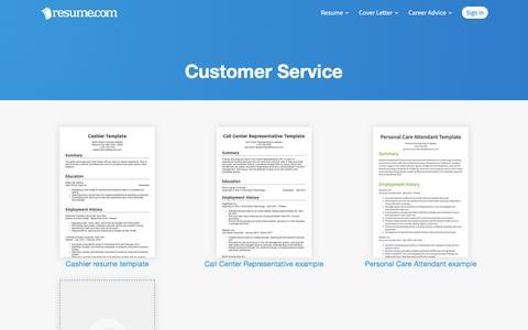 Screenshot of Support Page resume.com - Customer Service Resume Example | Resume.com - captured Jan. 2, 2020
