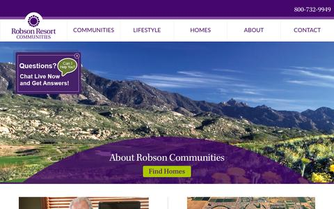 Screenshot of About Page robson.com - About – Active Adult Luxury Retirement Communities - captured Feb. 17, 2016